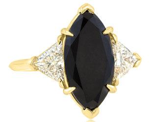 Trabert Goldsmiths 3.93ct Marquise Black Diamond Dark Queen Ring E2242