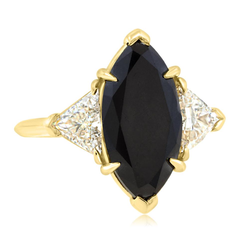 Trabert Goldsmiths 3.93ct Marquise Black Diamond Dark Queen Ring