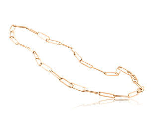Trabert Goldsmiths Rose Gold Paperclip Chain Necklace E2250