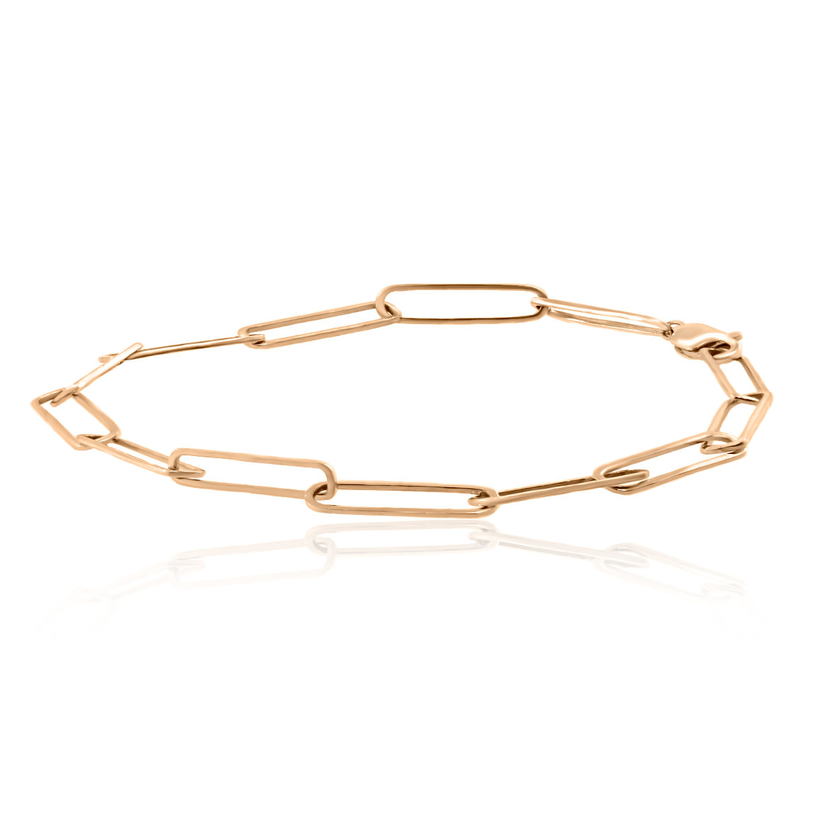 Trabert Goldsmiths Rose Gold Paperclip Chain Bracelet