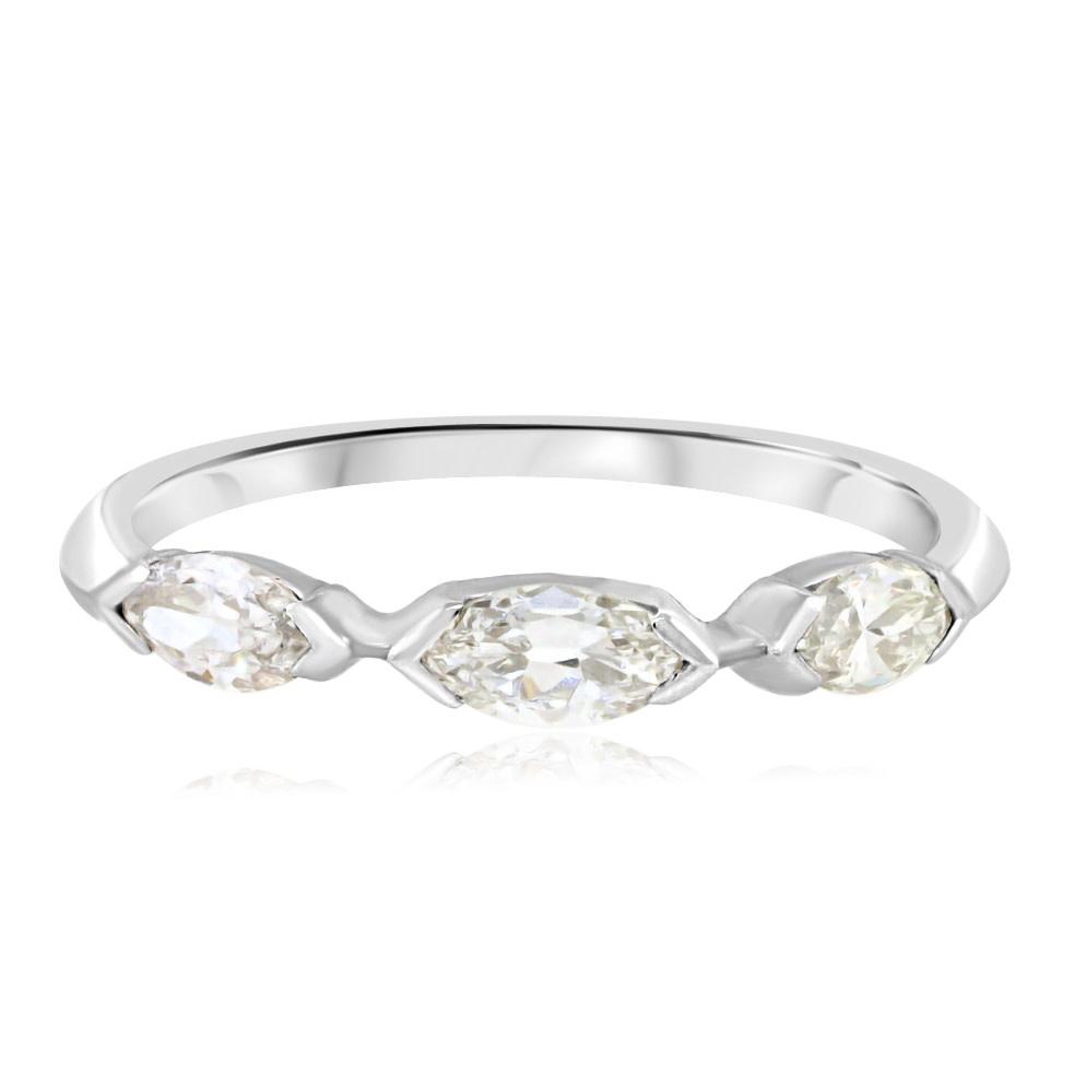 Trabert Goldsmiths Antique Diamond Marquise Ring