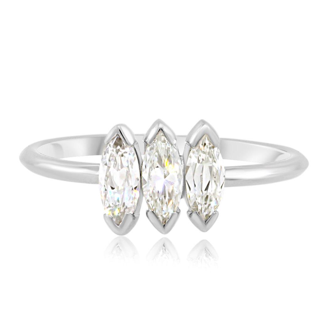 Trabert Goldsmiths Antique Triple Diamond Marquise Ring