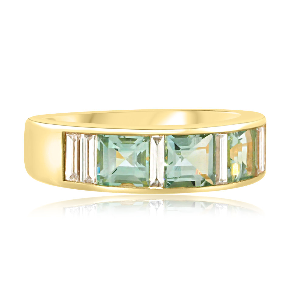 Trabert Goldsmiths Mint Aquamarine and Diamond Wide Band