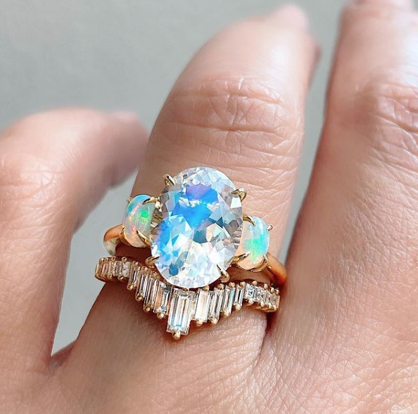 Trabert Goldsmiths 2.91ct Rainbow Moonstone and Opal Aura Ring