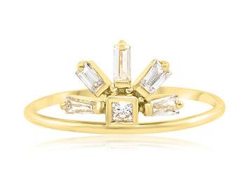 Diamond Baguette Rainbow Gold Ring A68
