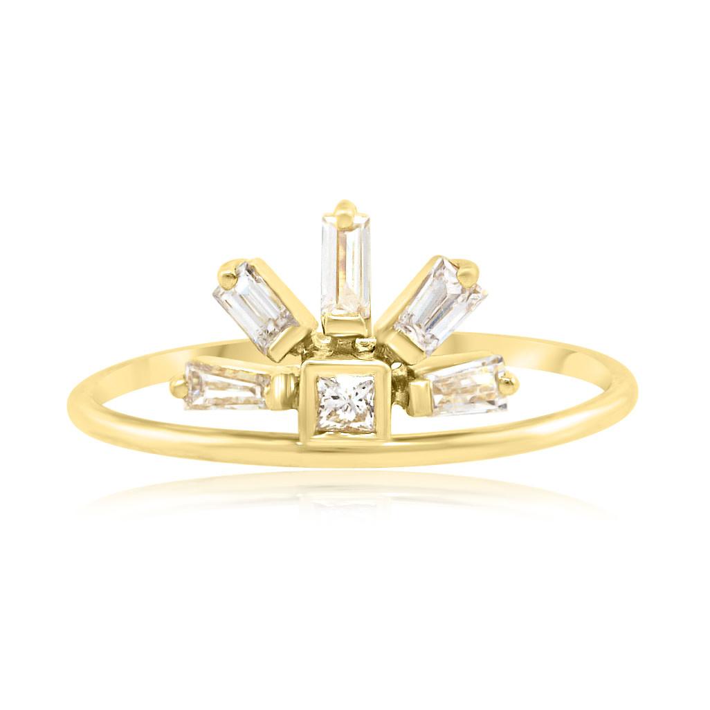 Diamond Baguette Rainbow Gold Ring