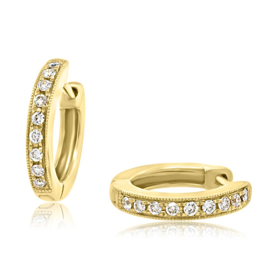 Beverley K Collection Yellow Gold Diamond Huggie Hoops