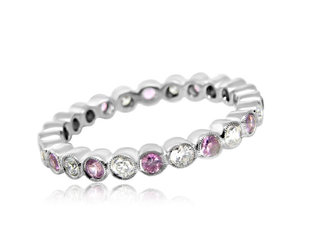 Beverley K Collection Pink Sapphire and Dia Eternity Band AB179