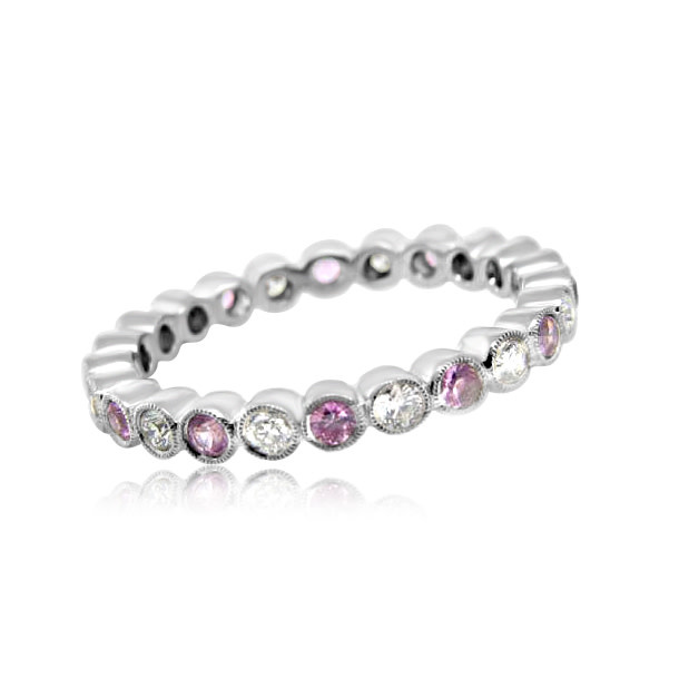 Beverley K Collection Pink Sapphire and Diamond Eternity Band