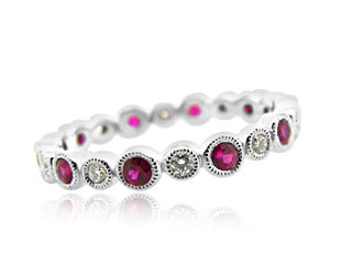 Beverley K Collection Bezel Set Dia and Ruby Eternity Band AB273