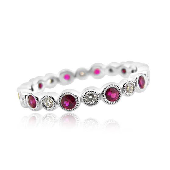 Beverley K Collection Bezel Set Diamond and Ruby Eternity Band