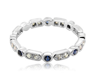 Beverley K Collection Dia & Blue Sapphire Eternity Band AB282
