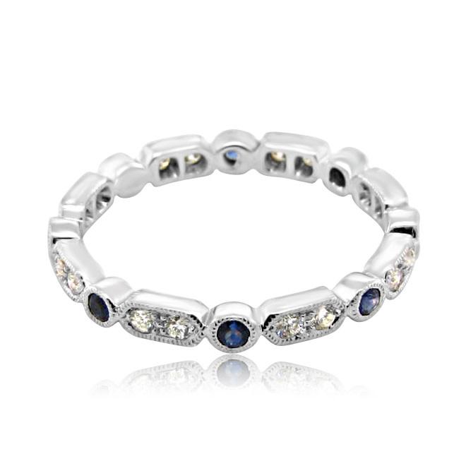 Beverley K Collection Diamond & Blue Sapphire Eternity Band