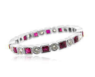 Beverley K Collection Round Dia and P/C Ruby Eternity Band AB328