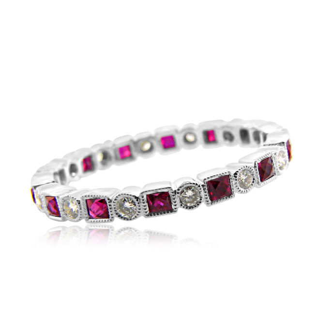 Beverley K Collection Round Diamond and Princess Cut Ruby Eternity Band