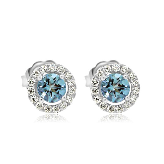 Beverley K Collection Aquamarine and White Diamond Earrings