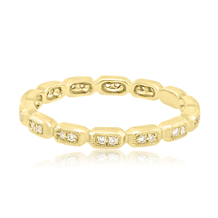Beverley K Collection Sectioned Diamond Gold Eternity Band