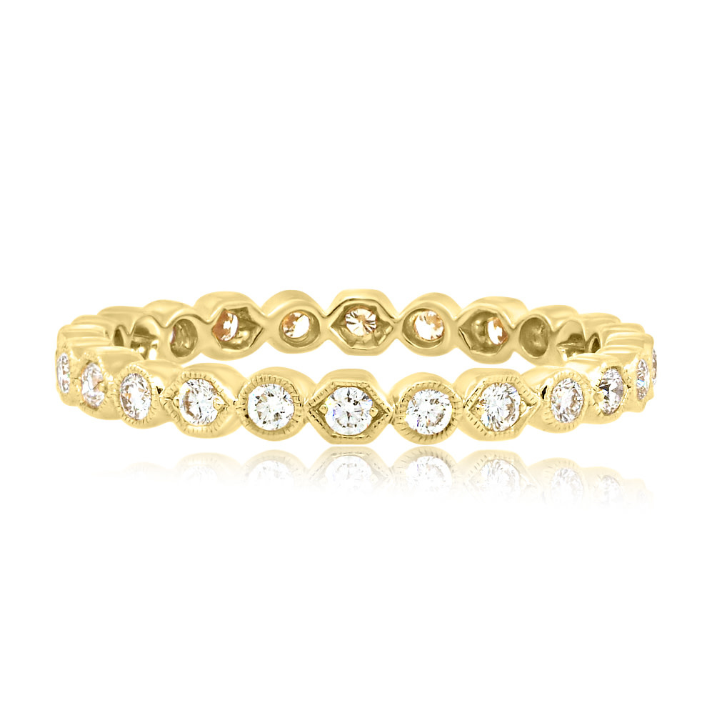 Beverley K Collection Honeycomb and Round Diamond Eternity Band
