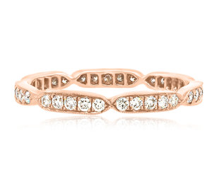 Beverley K Collection Sectioned Diamond Rose Gold Eternity Band AB514