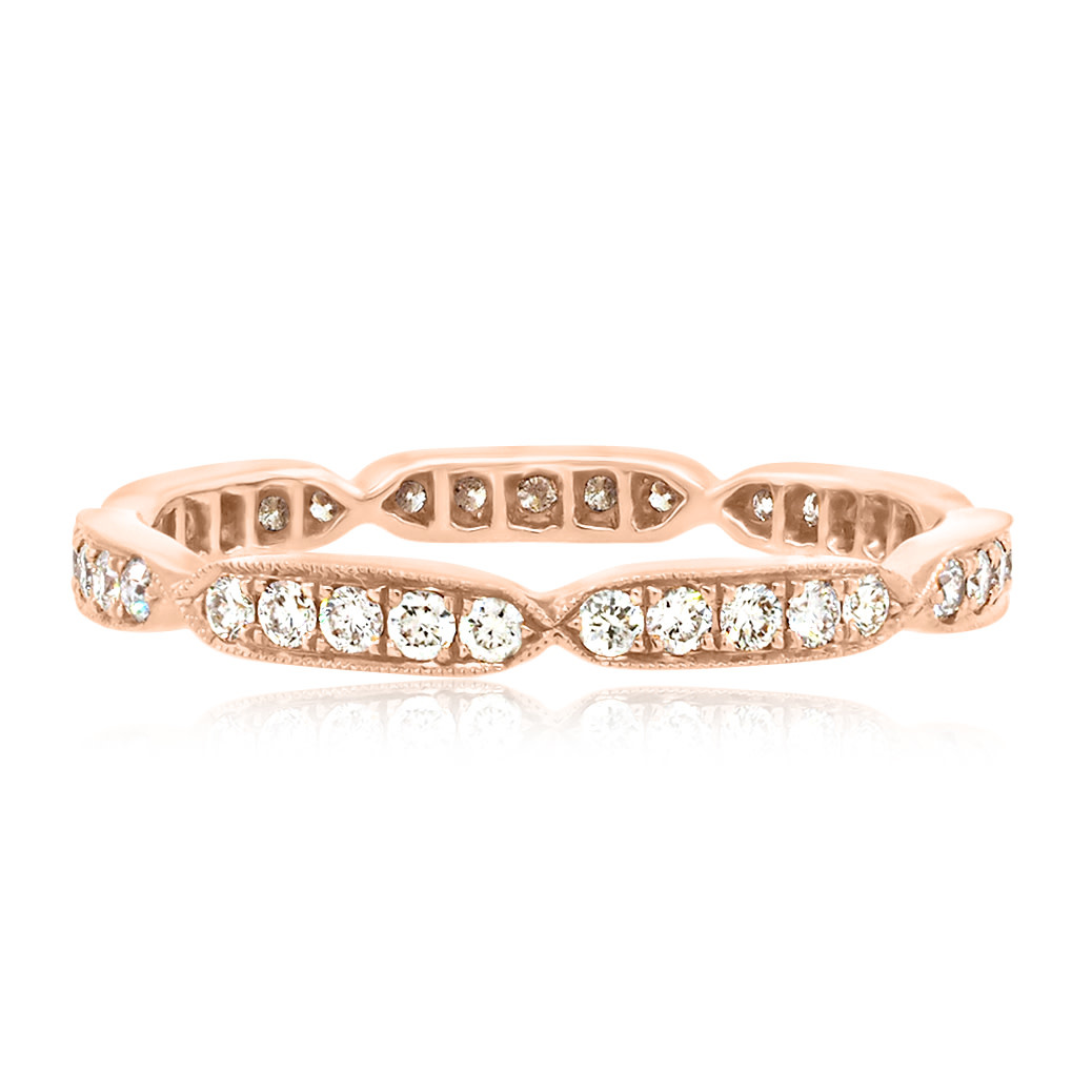 Beverley K Collection Sectioned Diamond Rose Gold Eternity Band