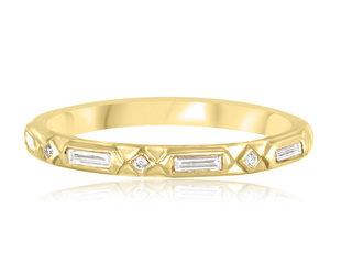 Artëmer Geometric Deco Diamond Gold Band AT3