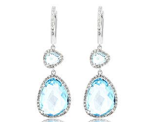Blue Topaz and Diamond Drop Earrings DL48