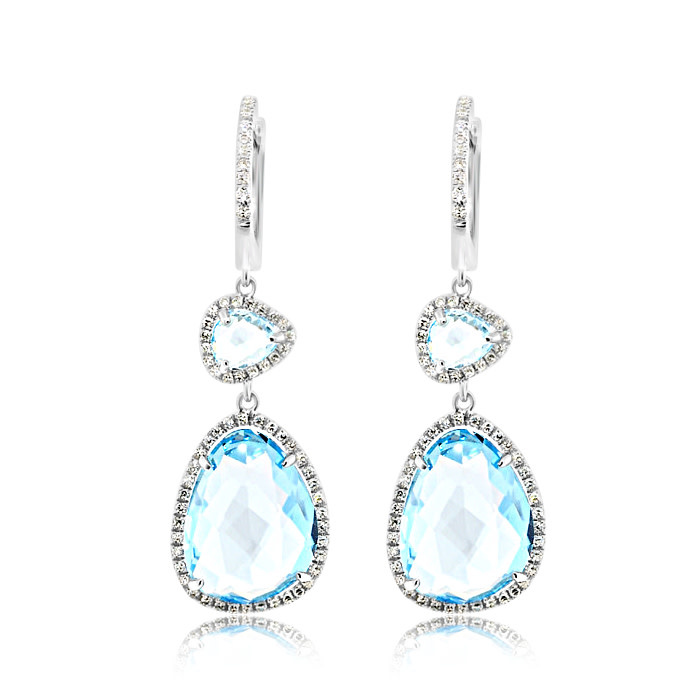 Blue Topaz and Diamond Drop Earrings