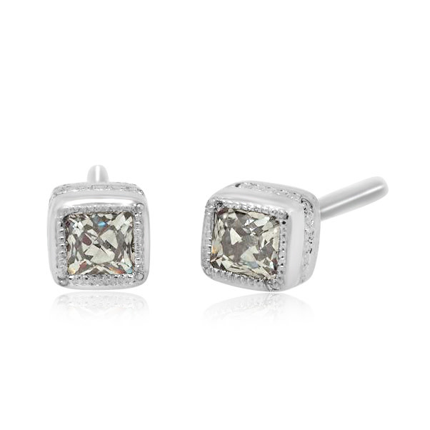 Trabert Goldsmiths Mini Old European Cut Diamond Stud Earrings