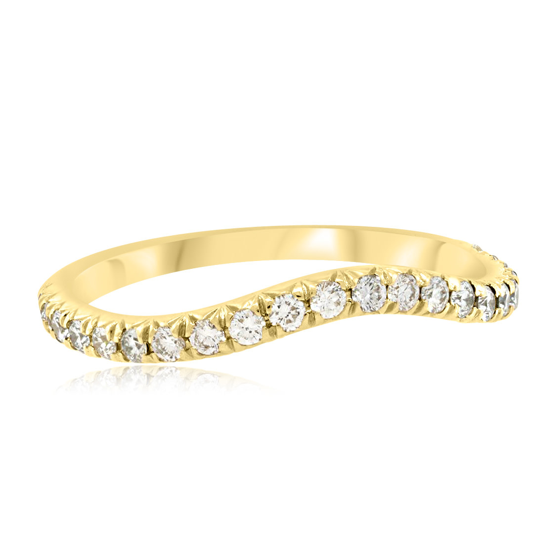 Trabert Goldsmiths Curved Pave Diamond Yellow Gold Band