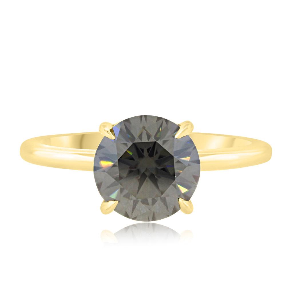 Trabert Goldsmiths 1.76ct Grey Round Moissanite Aura Ring