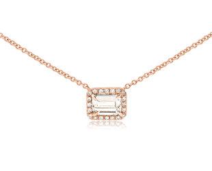 Emerald Cut Diamond Rose Gold Necklace E1314