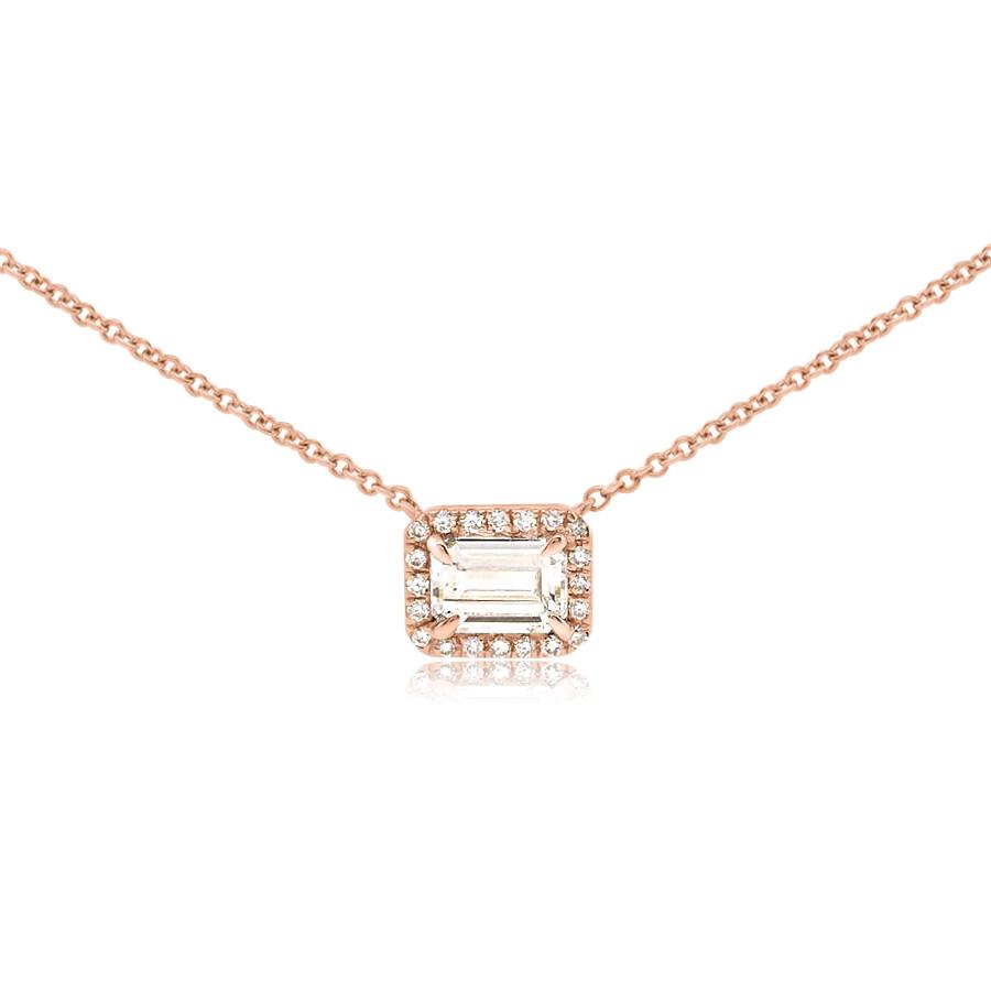 Emerald Cut Diamond Rose Gold Necklace