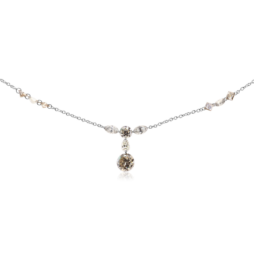 3.87ct Floating Champagne Diamond Necklace