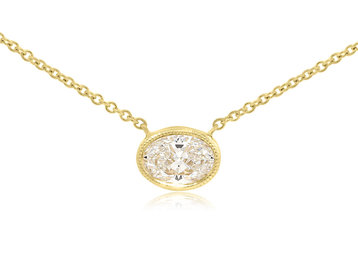 Trabert Goldsmiths Oval Diamond Pendant E1454