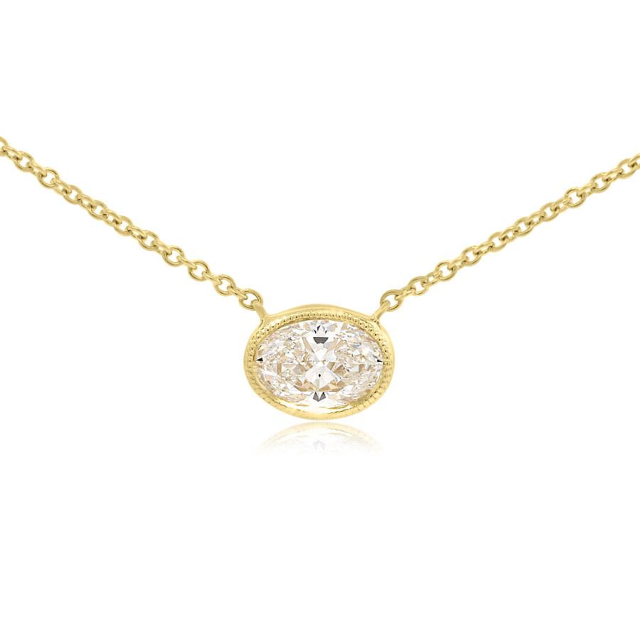 Trabert Goldsmiths Oval Diamond Pendant