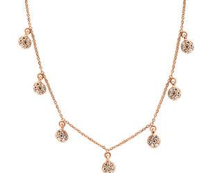 Multi Diamond Disc Rose Gold Necklace E1627