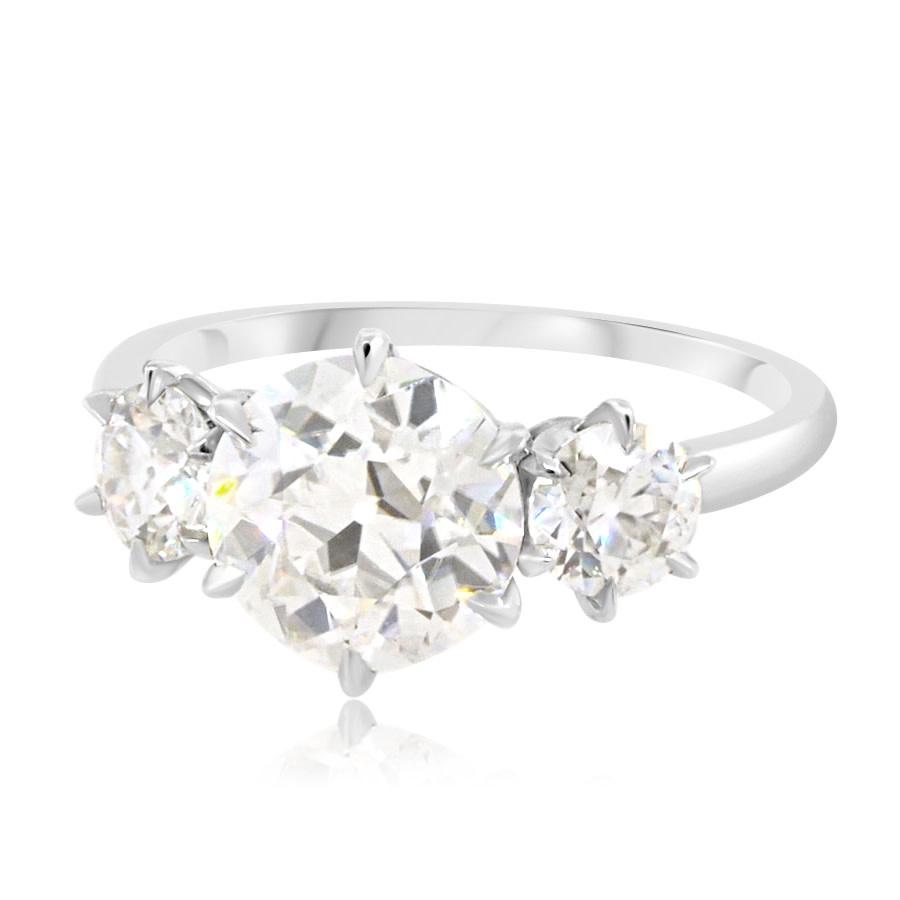 Trabert Goldsmiths 3-Stone Moissanite Platinum Ring