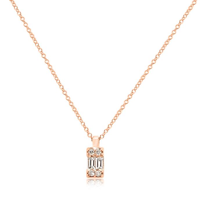 Emerald Shape Baguette Diamond Rose Gold Necklace
