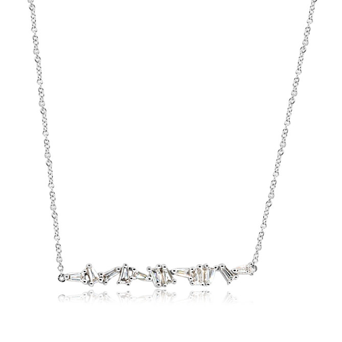 Mixed Baguette Diamond White Gold Necklace
