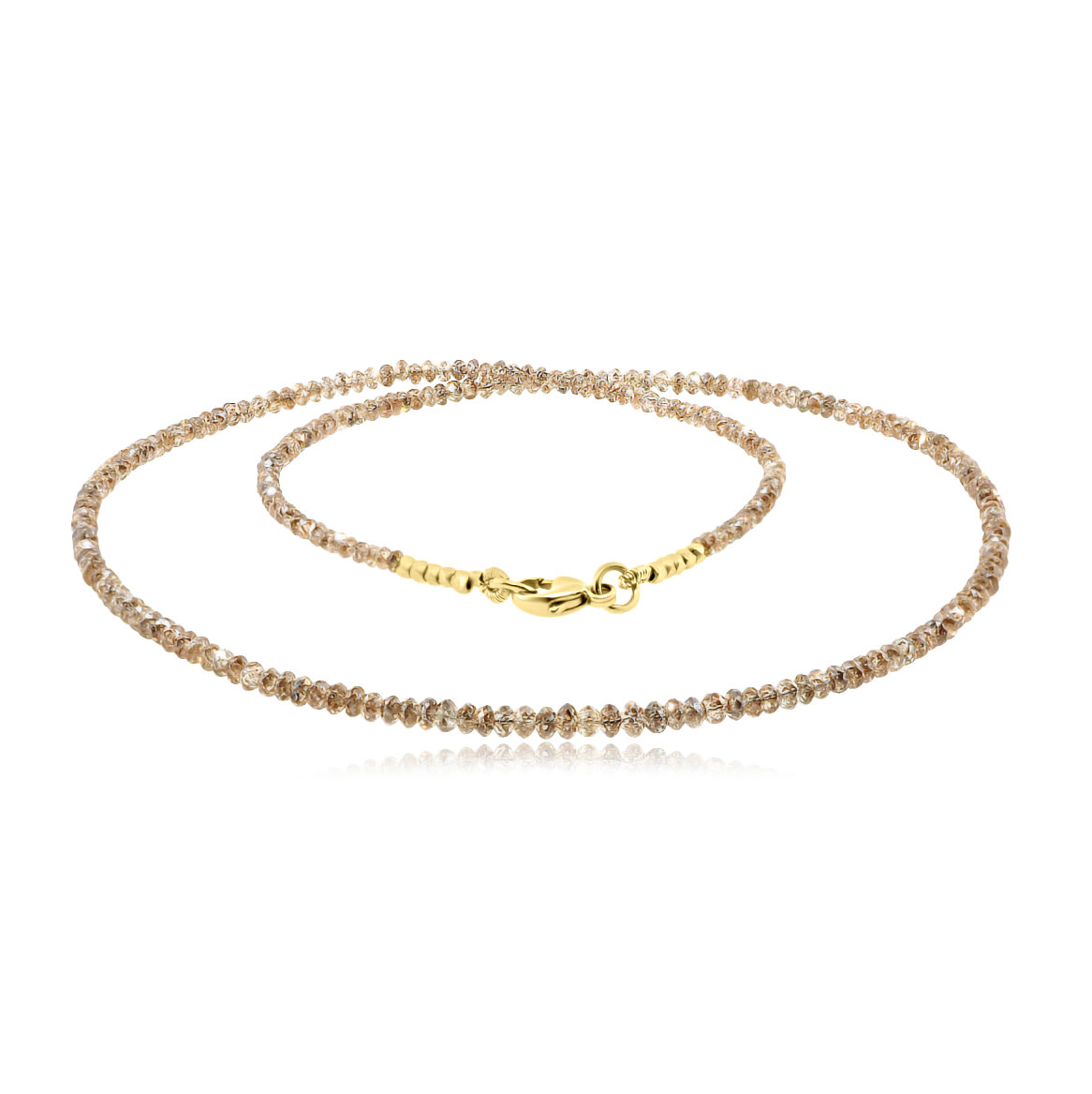 Trabert Goldsmiths 19.60cts Champagne Diamond Beaded Necklace