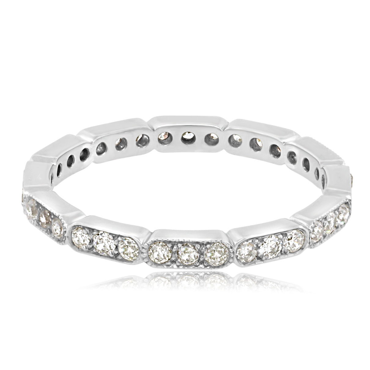 3 x 3 Pattern Diamond Pave Eternity Band
