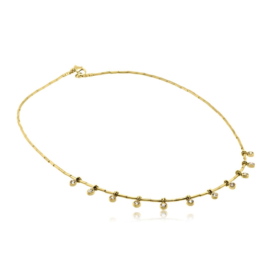 Trabert Goldsmiths Champagne Diamond Charm Gold Necklace