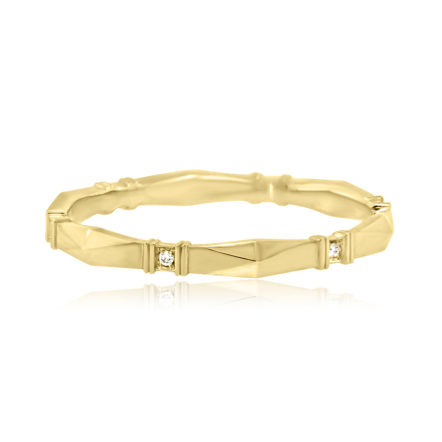 Erika Winters Viola Faceted Diamond Gold Band