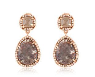 Rustic Diamond Drop Earrings LN6