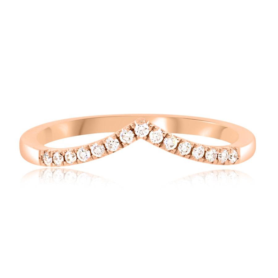 Medium V Shaped Pave Diamond Rose Gold Band