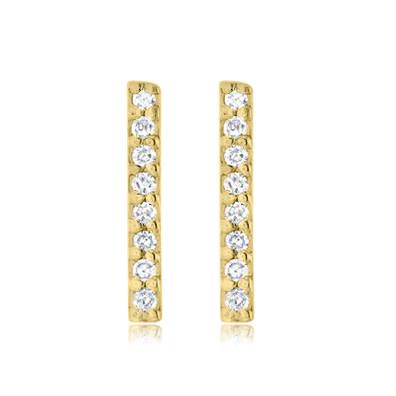 Pave Diamond Gold Bar Stud Earrings