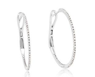 Delicate Pave Diamond Hoop Earrings LV6