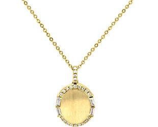 Oval Gold and Diamond Pendant LV67
