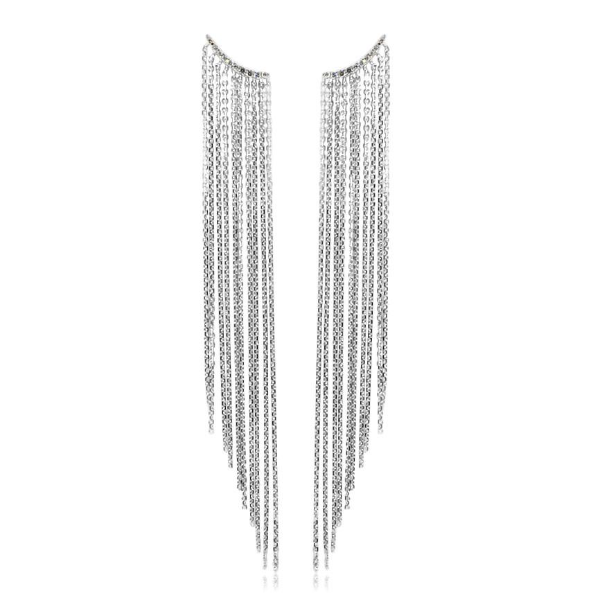 Multi Chain Diamond Drop Earrings