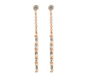 Diamond Baguette Stick Rose Gold Earrings LV97